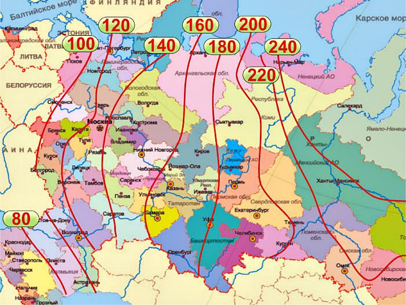 Карта глубины промерзания грунта в России