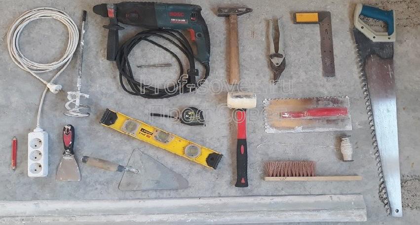Инструменты для строительства перегородки из пенобетона